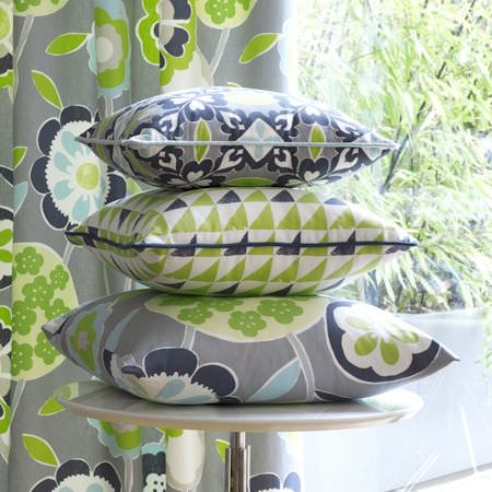 Clarke and Clarke -  Impressions Fabric Collection - Grey, green and blue modern floral and geometric patterned cushions