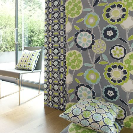 Clarke and Clarke -  Impressions Fabric Collection - Grey and green modern floral curtain and cushion