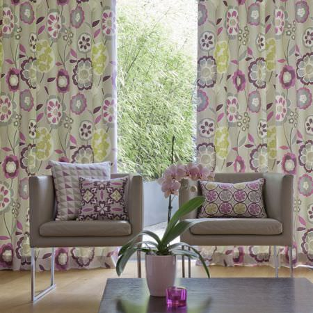 Clarke and Clarke -  Impressions Fabric Collection - Pair of curtains with pink and grey modern floral print and coordinating cushions