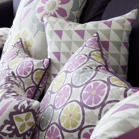 Clarke and Clarke -  Impressions Fabric Collection - Bold modern print purple and white cushions