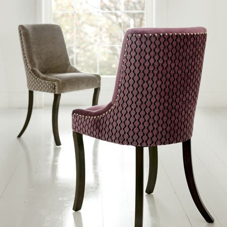 Clarke and Clarke -  Lazzaro Fabric Collection - Dark pink and brown upholstered chairs