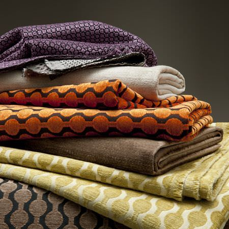 Clarke and Clarke -  Lazzaro Fabric Collection - Brown, orange and purple patterned fabrics