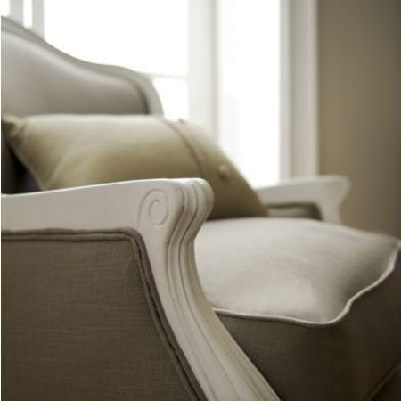 Clarke and Clarke -  Lindow Fabric Collection - Classic grey brown uphostered chair and cushion