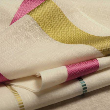 Clarke and Clarke -  Lino Sheers Fabric Collection - Cream sheer linen fabric with green and pink textured stripes