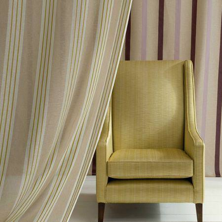 Clarke and Clarke -  Lino Sheers Fabric Collection - Neutral striped sheer curtains and olive green armchair