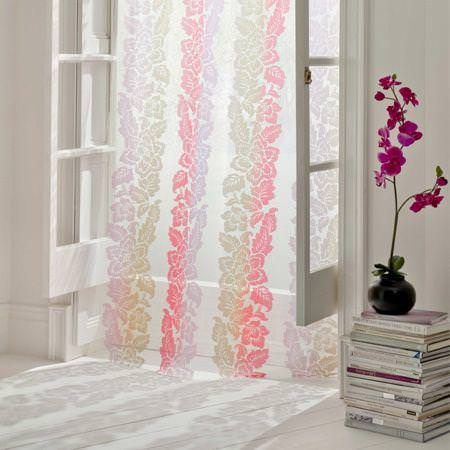 Clarke and Clarke -  Lino Sheers Fabric Collection - White sheer roman blind with neutral and pink vertical floral pattern