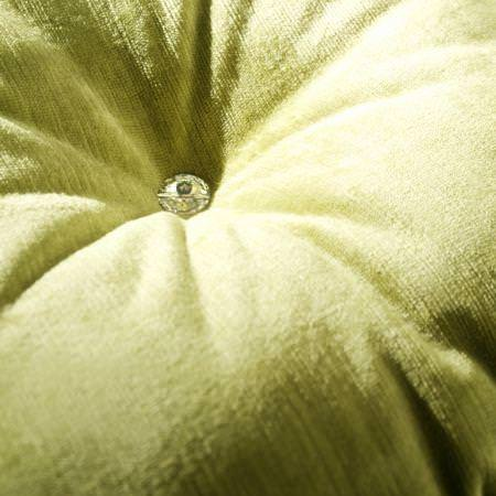 Clarke and Clarke -  Majestic Velvets Fabric Collection - Green velvet studded cushion detail