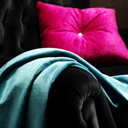 Clarke and Clarke -  Majestic Velvets Fabric Collection - Fuchsia pink velvet cushion and blue velvet fabric