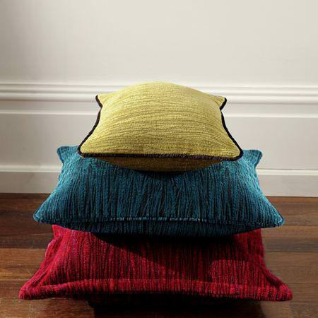 Clarke and Clarke -  Mandalay Fabric Collection - Red, blue and green square cushions