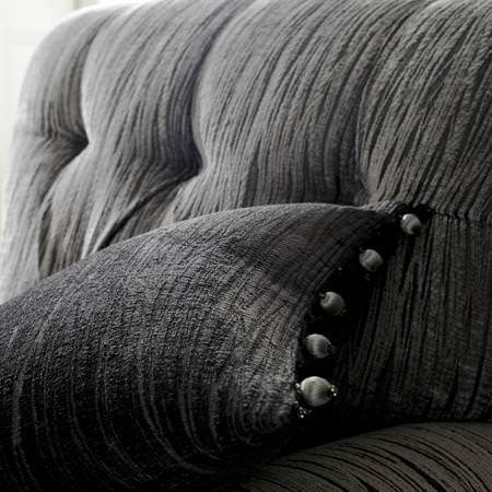 Clarke and Clarke -  Mandalay Fabric Collection - Dark grey fabric cushion and armchair
