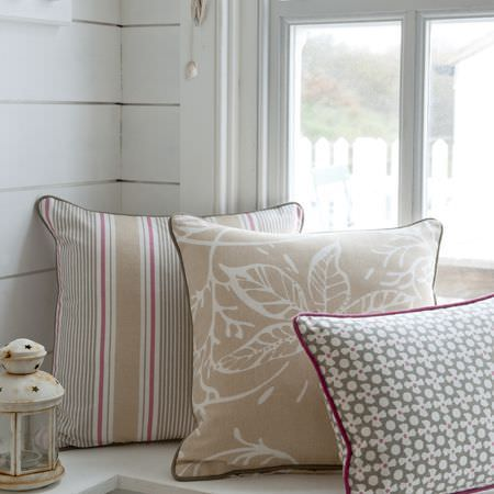 Clarke and Clarke -  Maritime Prints Fabric Collection - Neutral and pink striped and patterned cushions