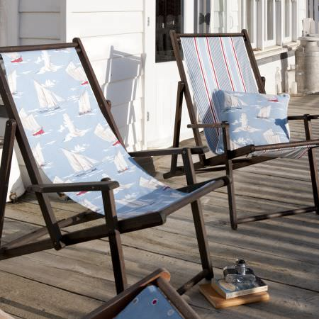 Clarke and Clarke -  Maritime Prints Fabric Collection - Blue striped and boat printed deckchairs and cushion