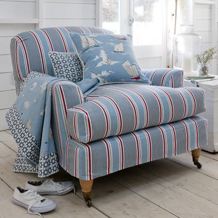 Clarke and Clarke -  Maritime Prints Fabric Collection - Blue and red striped fabric armchair with boat printed cushion