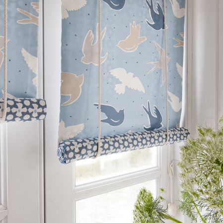 Clarke and Clarke -  Maritime Prints Fabric Collection - Blue bird and spot patterned blind