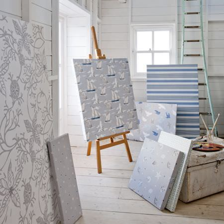 Clarke and Clarke -  Maritime Prints Fabric Collection - Blue and grey patterned fabric boards