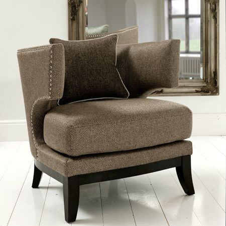 Clarke and Clarke -  Maximus Fabric Collection - Brown modern armchair and cushion from the Maximus fabric collection