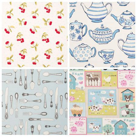 Clarke and Clarke -  Miscellaneous Fabric Collection - Swatches of cherry print fabric, teapot and teacup print fabric, cutlery print fabric and children