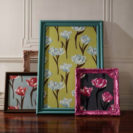 Clarke and Clarke -  Miyako Fabric Collection - Bright modern floral fabrics in frames