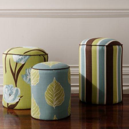 Clarke and Clarke -  Miyako Fabric Collection - Green and blue modern floral and striped pouffes