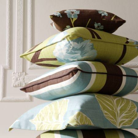 Clarke and Clarke -  Miyako Fabric Collection - Blue, green and brown floral and striped cushions