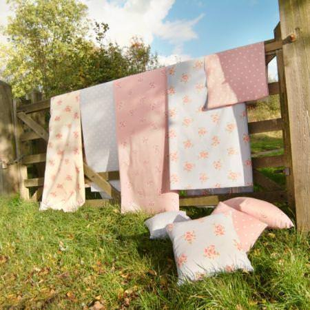 Clarke and Clarke -  Modern Classics Fabric Collection - Pale pink and blue vintage floral and polka dot fabrics