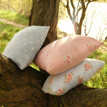 Clarke and Clarke -  Modern Classics Fabric Collection - Pink vintage floral patterned and blue polka dot cushions