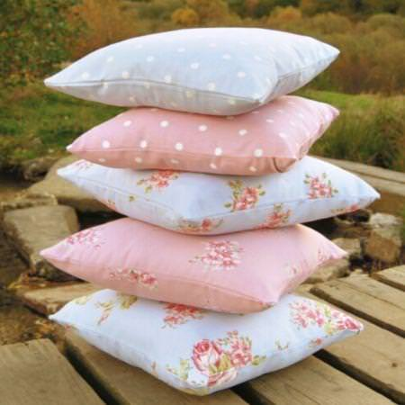 Clarke and Clarke -  Modern Classics Fabric Collection - Pale pink and blue country flower and spot patterned cushions