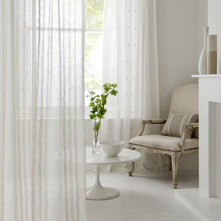 Clarke and Clarke -  Natura Sheers Fabric Collection - Sheer white curtains