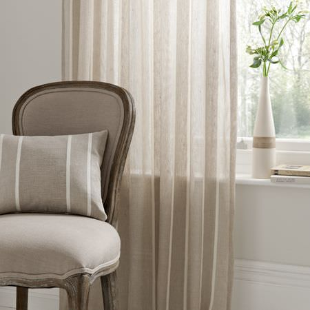 Clarke and Clarke -  Natura Sheers Fabric Collection - Neutral sheer curtain and striped cushion