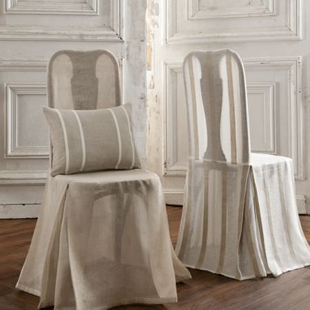 Clarke and Clarke -  Natura Sheers Fabric Collection - Neutral striped cushion and sheer chair cover