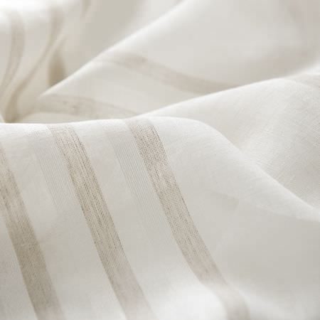 Clarke and Clarke -  Natura Sheers Fabric Collection - White sheer fabric with neutral stripe