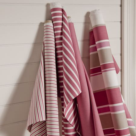 Clarke and Clarke -  New England Fabric Collection - Matching throws and cushions in blue - striped, floral and geometric patterns