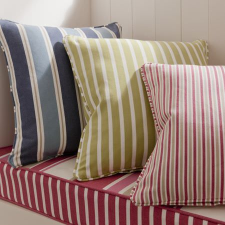 Clarke and Clarke -  New England Fabric Collection - Beautifully crafted cushion in blue and tan, with embroidered edge