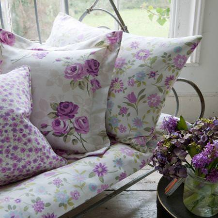 Clarke and Clarke -  Nostalgic Prints Fabric Collection - White and purple country flower patterned cushions