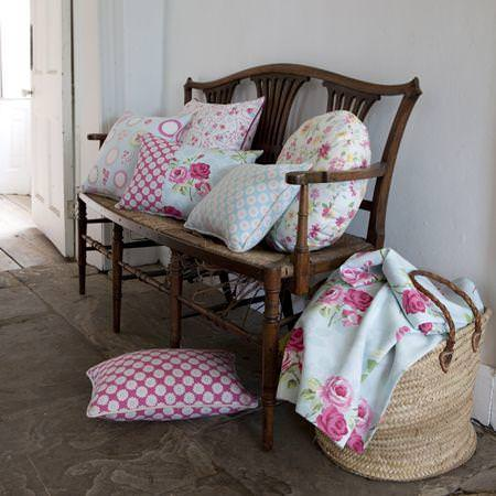 Clarke and Clarke -  Nostalgic Prints Fabric Collection - Pink and blue floral patterned cushions and fabric