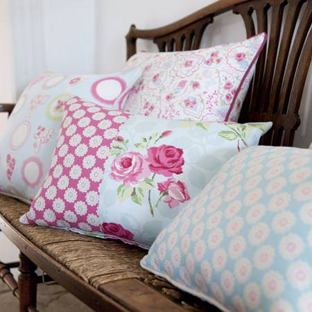 Clarke and Clarke -  Nostalgic Prints Fabric Collection - Pink and blue floral patterned cushions