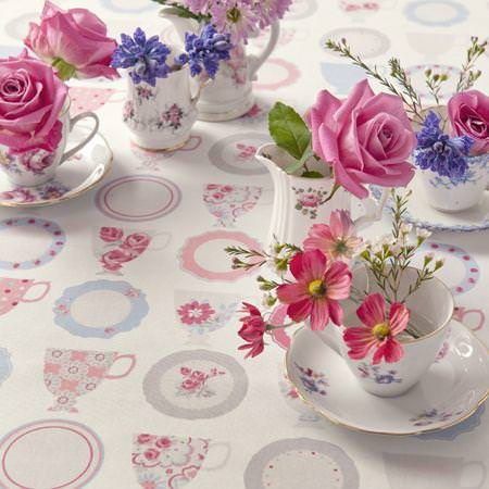 Clarke and Clarke -  Nostalgic Prints Fabric Collection - Pink, white and blue cup and saucer tablecloth