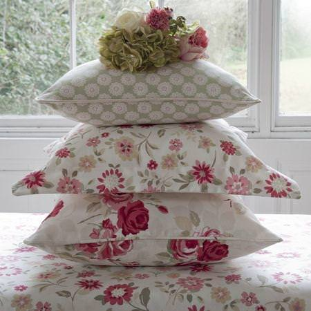 Clarke and Clarke -  Nostalgic Prints Fabric Collection - Red and cream floral cushions and tablecloth