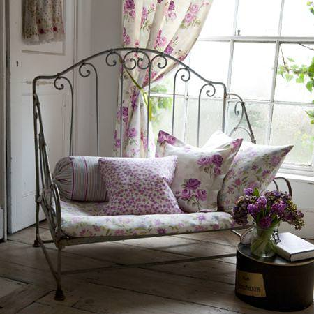 Clarke and Clarke -  Nostalgic Prints Fabric Collection - White and purple flower patterned cushions and striped bolster