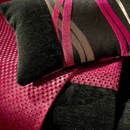 Clarke and Clarke -  Opera Fabric Collection - Black velvet pink stripe cushion and square patterned fabric