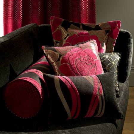 Clarke and Clarke -  Opera Fabric Collection - Pink and black chenille fabric patterned cushions