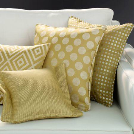 Clarke and Clarke -  Quantum Fabric Collection - Yellow patterned cushions