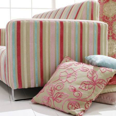 Clarke and Clarke -  Regency Velvets Fabric Collection - Red blue and pink striped neutral sofa with floral outline cushion
