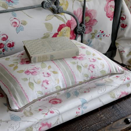 Clarke and Clarke -  Romance Fabric Collection - White cushions and duvets with stripes and watercoloured roses from the Romance fabric collection