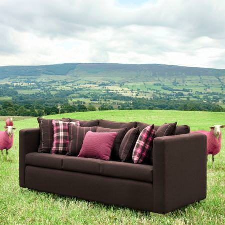 Clarke and Clarke -  Sartorial Wools Fabric Collection - Fine wool upholstery and cushions in brown and pink from the Sartorial wools fabric collection