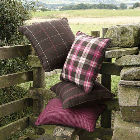 Clarke and Clarke -  Sartorial Wools Fabric Collection - Tartan, striped, and plain fine wool cushions