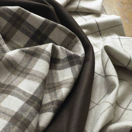 Clarke and Clarke -  Sartorial Wools Fabric Collection - Tartan and plain fine wool fabric