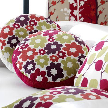 Clarke and Clarke -  Scandia Fabric Collection - Cushions with simple modern floral design on front and plain colourful back, made of cotton
