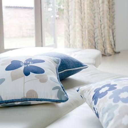 Clarke and Clarke -  Scandia Fabric Collection - Blue and white cotton cushions with flowers or plain monochrome