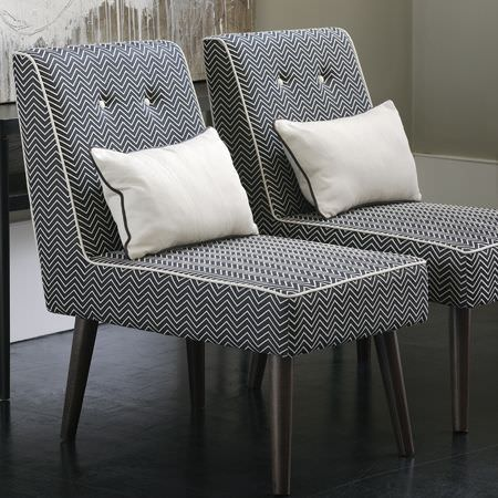 Clarke and Clarke -  Sonoma Fabric Collection - Simply designed padded chairs with long seats, in black and white zigzag fabric and white piping, with rectangular plain white cushions